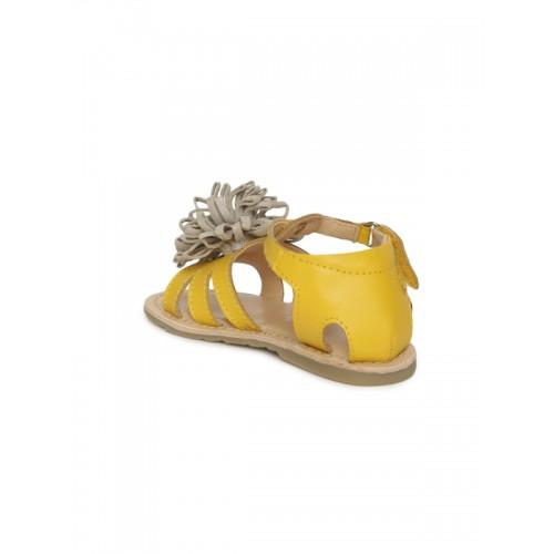Aria Nica Girls Mustard & Beige Leather Comfort Sandals