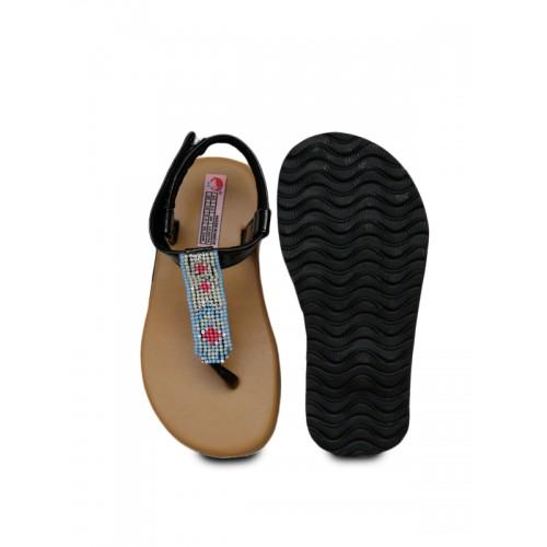 DChica Girls Brown & Black Comfort Sandals