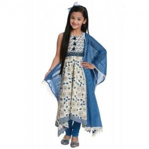 Blue Asymmetric Cotton Suit Set