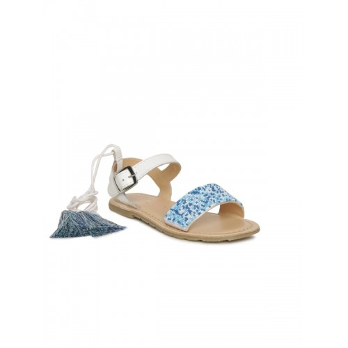 Aria Nica Girls Blue & White Embellished Jasmine Leather Comfort Sandals