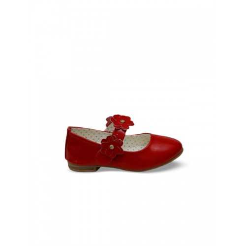 DChica Girls Red Solid Synthetic Ballerinas