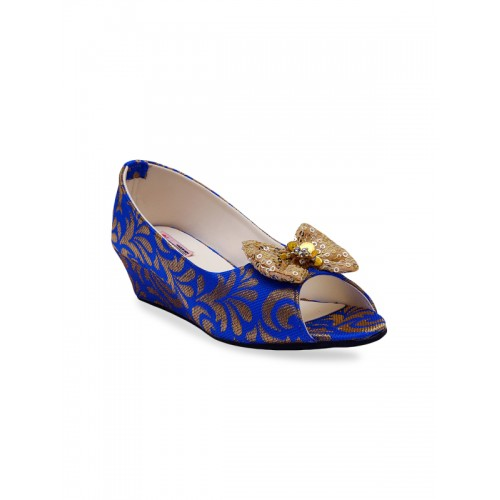 DChica Girls Blue Woven Design Synthetic Wedges