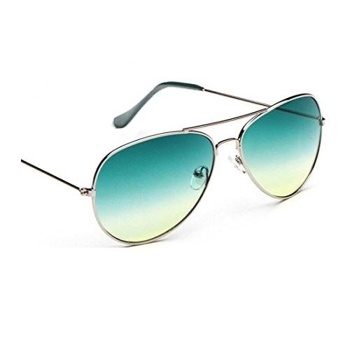 Younky Unisex UV Protected Aviator Stylish Mercury Sunglasses For Men Women Boys & Girls ( GrnGrdnt|55|Green ) - 1 Sunglass Case