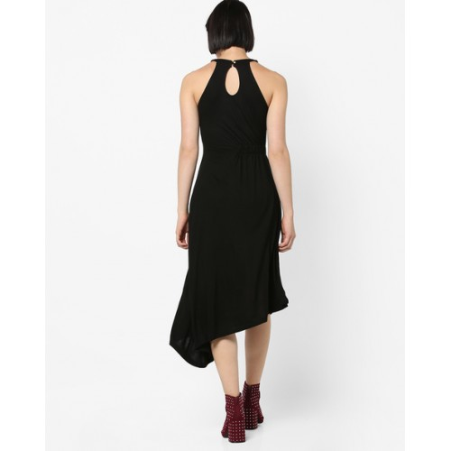 AJIO Halter-Neck Dress with Asymmetric Hemline