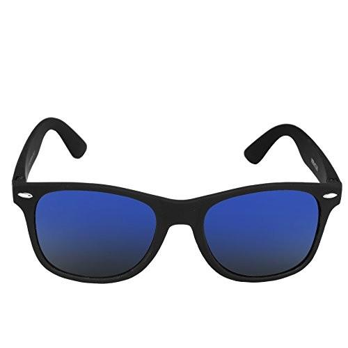 Silver Kartz Wayfarer Rectangular Unisex Sunglass (wy095|40|Black)