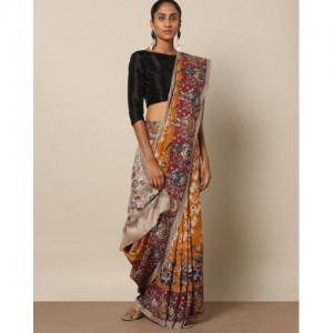 Indie Picks Kalamkari Print Cotton Rayon Saree