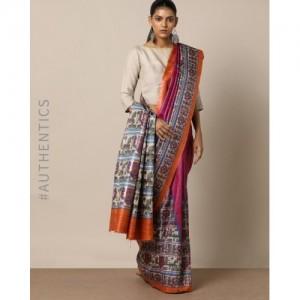 Indie Picks Madhubani Inspired Printed Handloom Desi Tussar Silk Saree