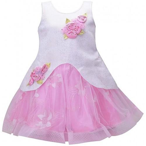 2b74622f8e2a ... Kids Girls Birthday Party wear Frock Dress for Baby Girl Kids PINK  Scuba ...