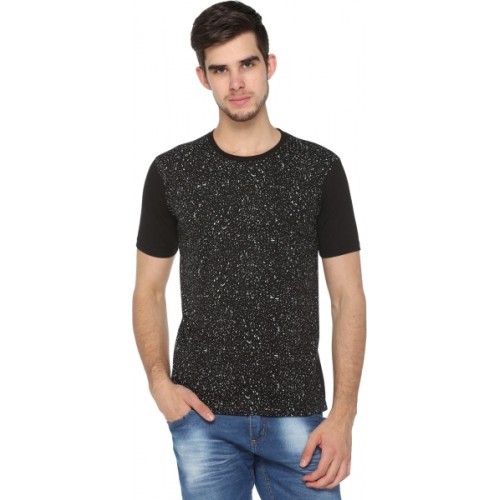 Shaun Printed Men's Round Neck Black T-Shirt
