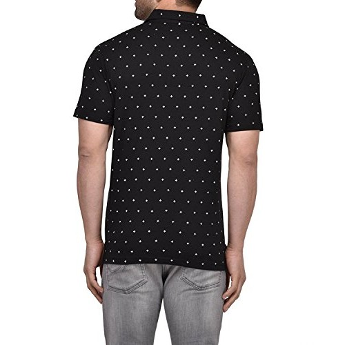 Vivid Bharti Black Half Sleeve Polo Neck Dot Printed Men's Cotton Tshirt
