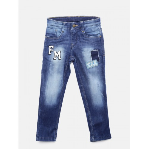 Flying Machine Boys Blue Regular Fit Mid-Rise Mildly Distressed Stretchable Jeans