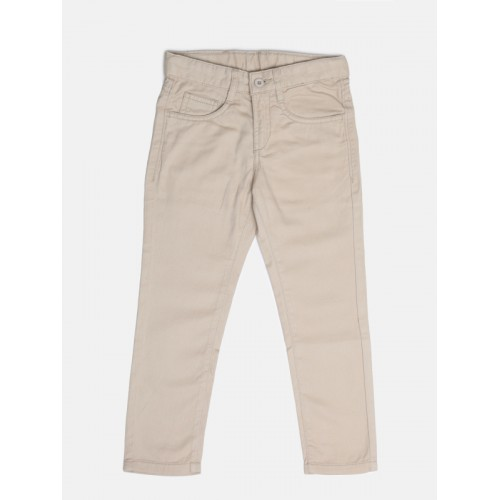 Flying Machine Boys Beige Slim Fit Solid Regular Trousers
