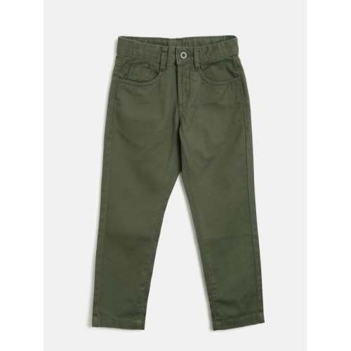 Flying Machine Boys Olive Green Regular Fit Solid Chinos