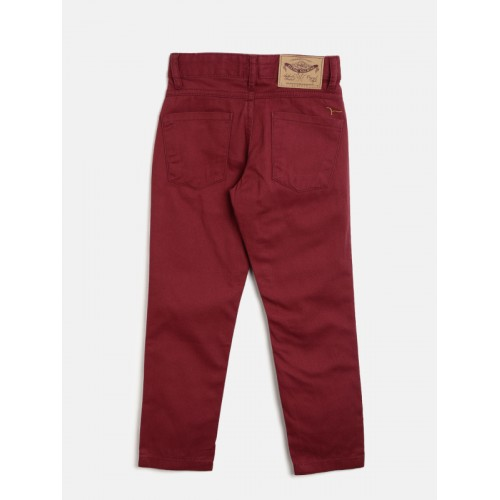 Flying Machine Boys Maroon Regular Fit Solid Chinos