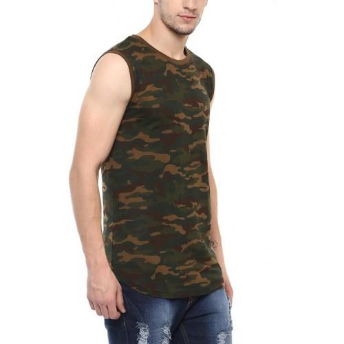 Urbano Fashion Men's Olive,Green Sleeveless T-shirt