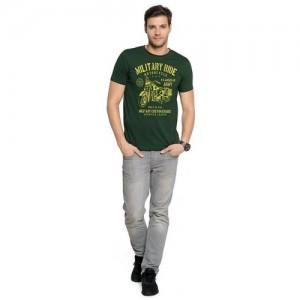 cfd3251786fd39 Zorchee Men s Round Neck Half Sleeves Printed Cotton T-Shirts - Dark Green