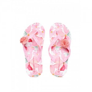 Fame Forever by Lifestyle Girls Pink Printed Heeled Thong Flip-Flops