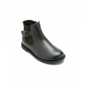 next Girls Black Solid Leather Mid-Top Flat Boots