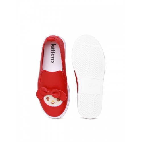 Kittens Girls Red Slip-On Sneakers