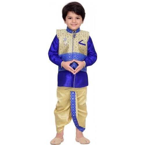 AJ Dezines Boys Festive & Party Ethnic Jacket, Kurta and Dhoti Pant Set