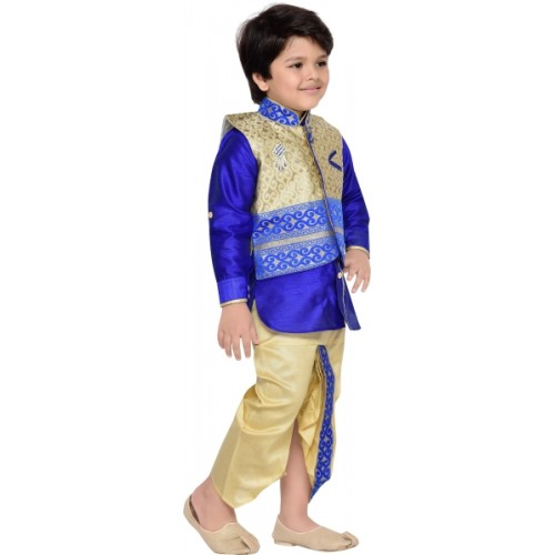 AJ Dezines Boys Festive & Party Ethnic Jacket, Kurta and Dhoti Pant Set