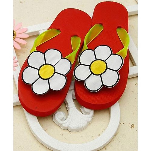 DChica Girls Red & Yellow Solid Slip-On