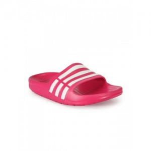 Adidas Kids Magenta & White DURAMO SLIDE Striped Flip-Flops