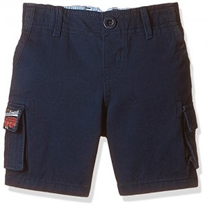 Nauti Nati Navy Blue Cotton Solid Boys' Shorts
