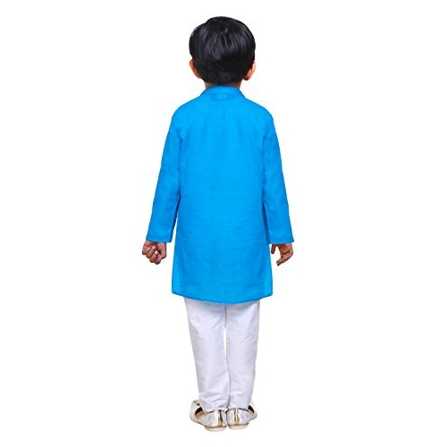 Littly Handloom Ethnic Wear Kids Embroidered Cotton Kurta Pyjama Set For Baby Boys