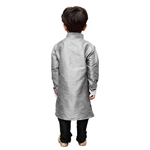 JBN Creation Boys Cotton Silk Grey Kurta & Black Pyjama Set For Kids (Color Grey & Black)