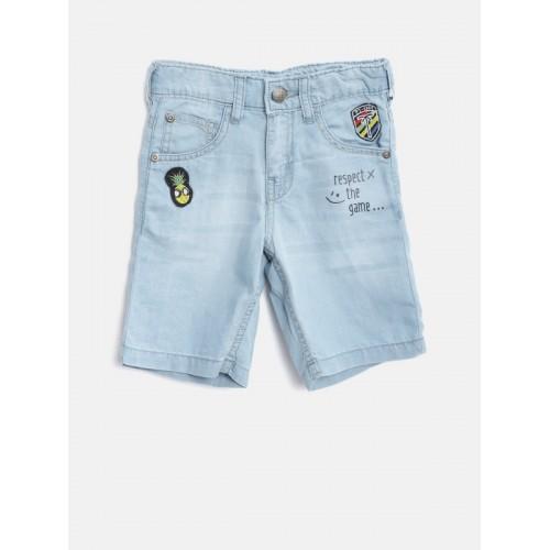 Palm Tree Boys Blue Washed Regular Fit Denim Shorts
