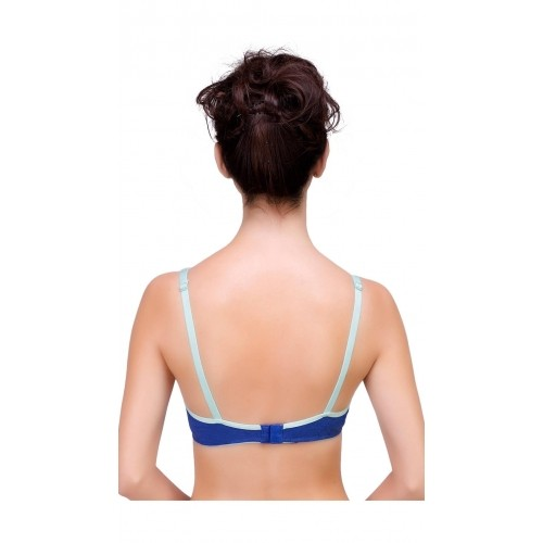 Inner Sense Blue Cotton Antimicrobial Seamless Laced Bra