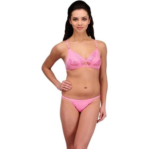 3aafe981c8 Buy Urbaano Pink Cotton Lace Lingerie Set online
