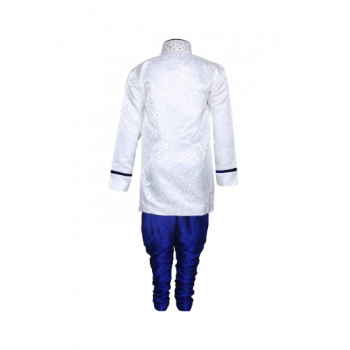 Aj DEZInES Boys White & Blue Embellished Sherwani Set