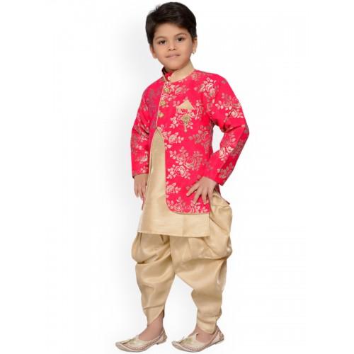 AJ Dezines Pink & Beige Baby Boys Indo Western Sherwani Set