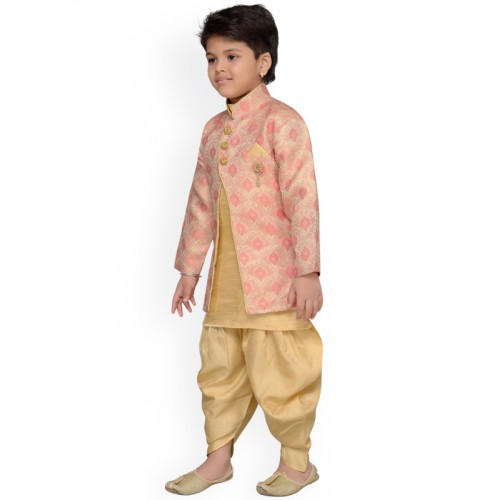 264812787518 Buy AJ Dezines Peach   Beige Baby Boys Indo Western Sherwani Set ...