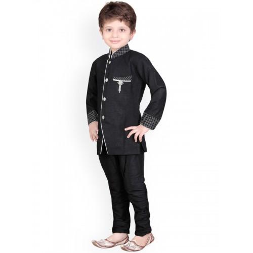 Jeetethnics Boys Black Silk Kurta Pyjama