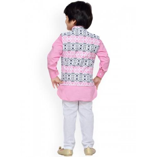 Aj DEZInES Boys Pink & White Printed Kurta Set