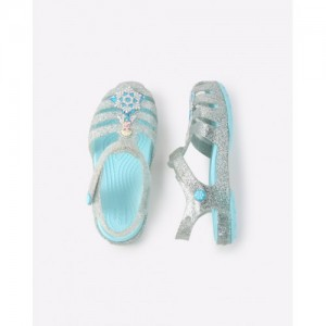 CROCS Shimmery Ankle-Strap Sandals with Applique
