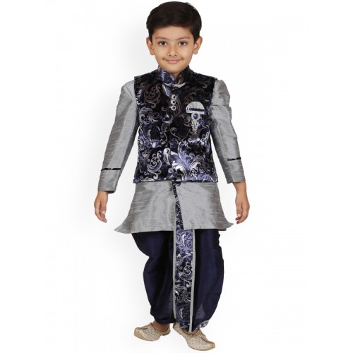d254c2266c0 Buy Aj DEZInES Boys Grey Self Design Kurta with Dhoti Pants online ...