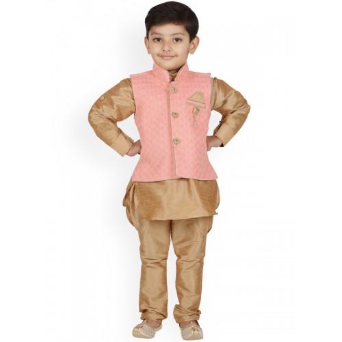 Aj DEZInES Boys Peach-Coloured & Brown Self Design Kurta with Pyjamas