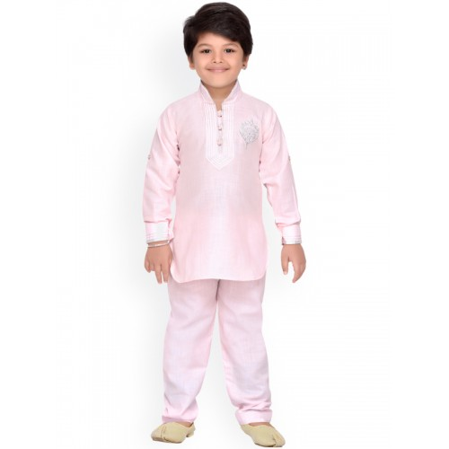Aj DEZInES Boys Pink Solid Kurta Pyjama