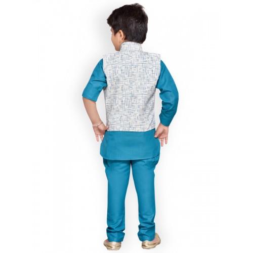 Aj DEZInES Boys Blue & White Printed Kurta with Pyjamas