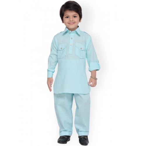 Aj DEZInES Boys Blue Solid Kurta with Salwar