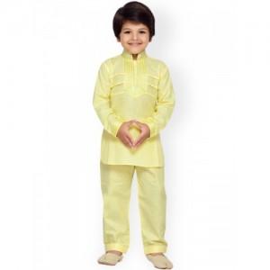 Aj DEZInES Boys Yellow Solid Kurta with Pyjama