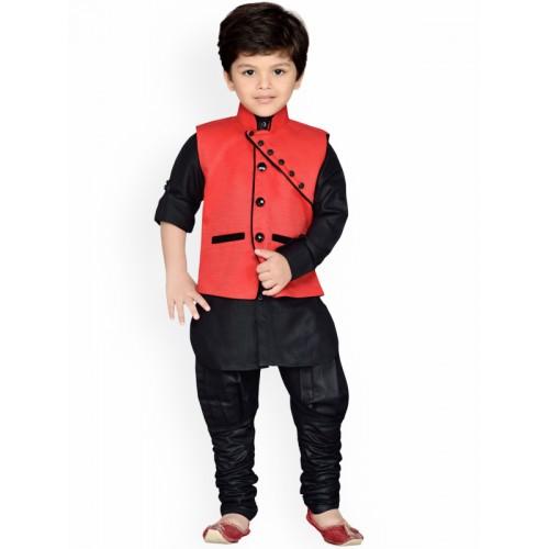 Aj DEZInES Boys Red & Black Solid Kurta With Churidar