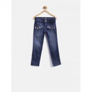 The Childrens Place Girls Navy Embellished Stretchable Jeans