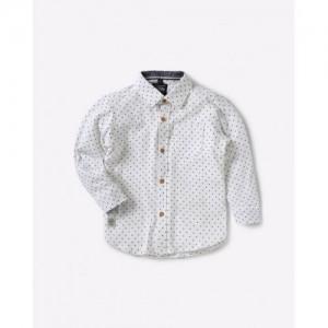 RUFF KIDS Polka-Dot Print Shirt with Patch Pocket
