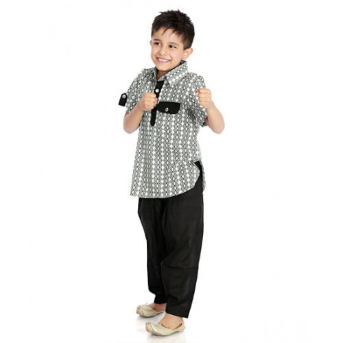 b9c12e4ac ... Little Pocket Store Kids Black & White Cotton Printed Pathani Suit For  ...