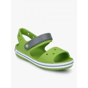 Crocs Kids Crocband Volt Green & Smoke Grey Floater Sandals